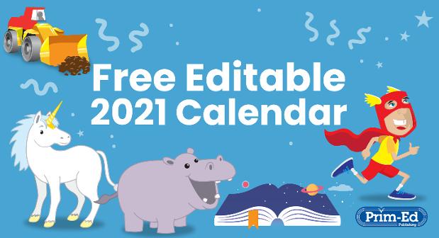 Free Editable 2021 Calendar